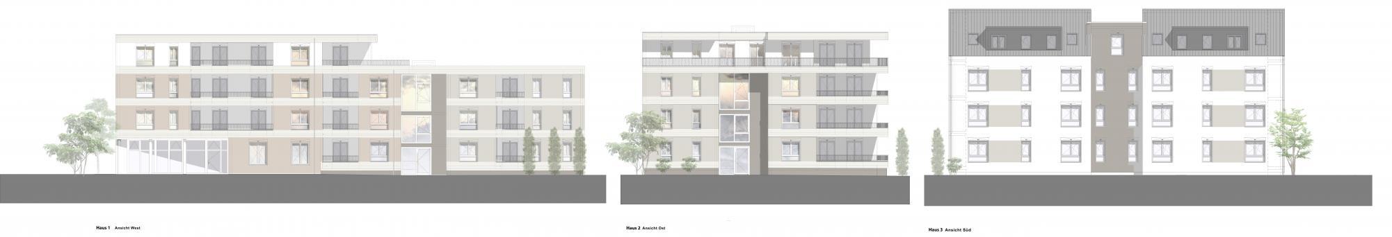 apartmentanlage albert schweitzer Fassade zeichnung